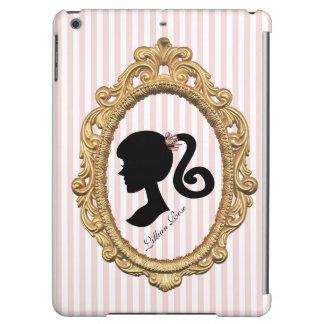 Pink Striped Paris Girl Silhouette iPad Air Covers