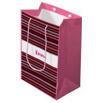 Pink striped pattern gift bag