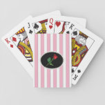 "Pink Striped Pearls and Red Rose Playing Cards<br><div class=""desc"">Custom Pink,  white and silver striped playing cards with pearls and white rose bouquet.</div>"