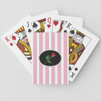 Pink Striped Pearls and Red Rose Playing Cards