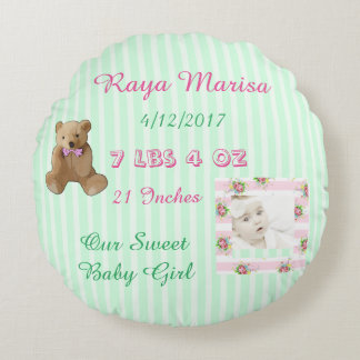 Pink Striped personalized Baby Girl  Photo Pillow