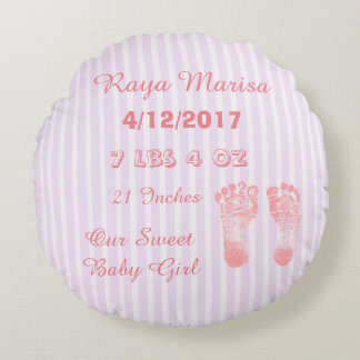 Pink Striped personalized Baby Girl  Pillow
