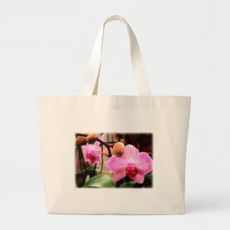 Pink Striped Phalaenopsis Orchid Large Tote Bag