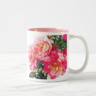 Pink Striped Roses Coffee Mug