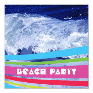 Pink Striped Salt Water Ocean Beach Party 5.25x5.25 Square Paper Invitation Card