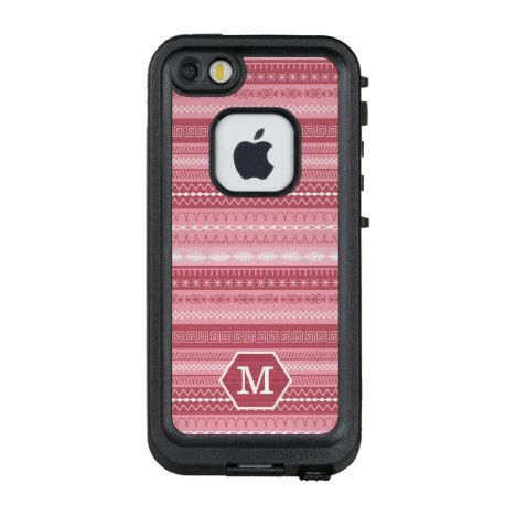 Pink striped sewing stitched pattern with monogram LifeProof FRĒ iPhone SE/5/5s case