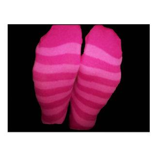 Pink Striped Socks Postcard