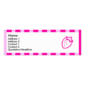 Pink striped strawberry Double-Sided mini business cards (Pack of 20)