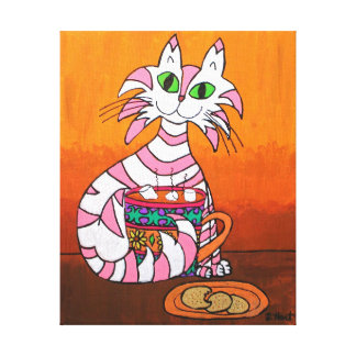 Pink Striped Tabby Cat with Cookies & Hot Cocoa Canvas Print