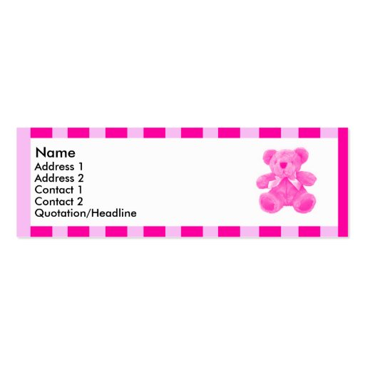Pink striped teddy   Double-Sided mini business cards (Pack of 20)