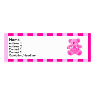 Pink striped teddy | Double-Sided mini business cards (Pack of 20)