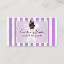 Pink Striped Trendy Bakery | Pastry Chef Business Card