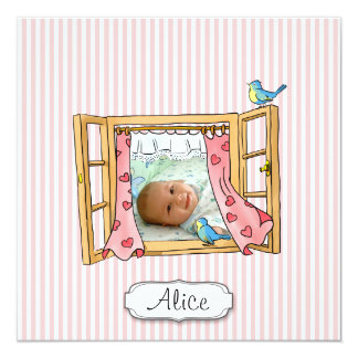 Pink Striped Window-Custom Girl Birth Announcement