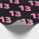 [ Thumbnail: Pink Stripes 13 Event # (Birthday, Anniversary) Wrapping Paper ]