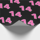 [ Thumbnail: Pink Stripes 14 Event # (Birthday, Anniversary) Wrapping Paper ]