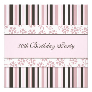 Pink Stripes 30th Birthday Party Invitations