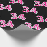 [ Thumbnail: Pink Stripes 34 Event # (Birthday, Anniversary) Wrapping Paper ]
