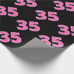 [ Thumbnail: Pink Stripes 35 Event # (Birthday, Anniversary) Wrapping Paper ]