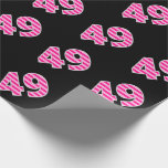 [ Thumbnail: Pink Stripes 49 Event # (Birthday, Anniversary) Wrapping Paper ]