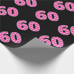 [ Thumbnail: Pink Stripes 60 Event # (Birthday, Anniversary) Wrapping Paper ]