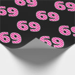 [ Thumbnail: Pink Stripes 69 Event # (Birthday, Anniversary) Wrapping Paper ]