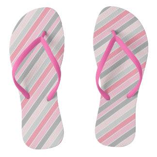 Pink Stripes Adult Slim Straps Flip Flop Flip Flops