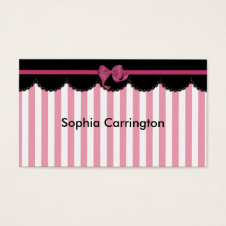 Pink Stripes and Black Lace Business Card
