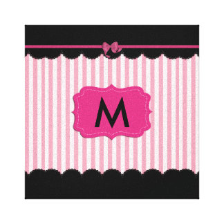 Pink Stripes and Black Lace Canvas Print