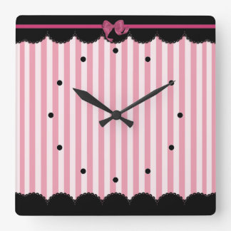 Pink Stripes and Black Lace Square Wall Clock
