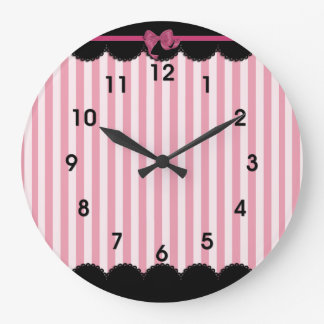 Pink Stripes and Black Lace Large Clock