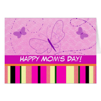 Pink Stripes and Butterflies Card