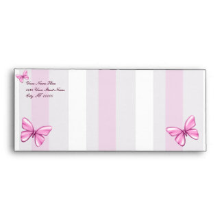 Pink Stripes and Butterflies Envelope