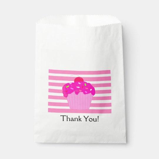 Pink Stripes and Cupcake Favor Bag