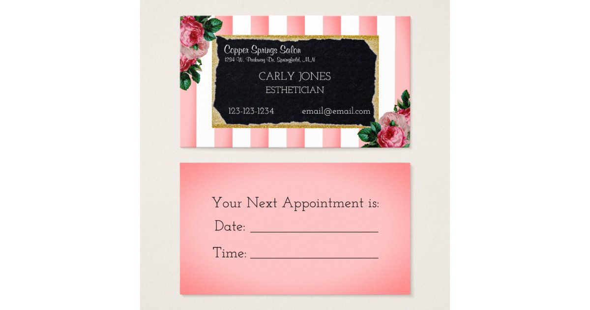 Pink Stripes and Floral Business Card | Zazzle.com