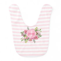 Pink Stripes and Flowers Personalized Baby Bib