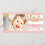 "pink stripes and gold dots thank you<br><div class=""desc"">thank you-baby photocard</div>"
