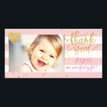 """pink stripes and gold dots thank you card<br><div class=""""desc"""">thank you-baby photocard</div>"""