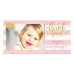 pink stripes and gold dots thank you card<br><div class='desc'>thank you-baby photocard</div>