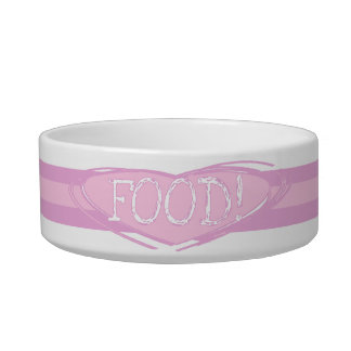 Pink Stripes and Heart FOOD Pet Dish