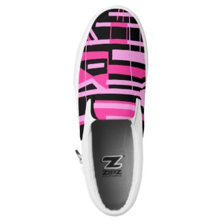 Pink Stripes and Lines zipz Slip-On Sneakers