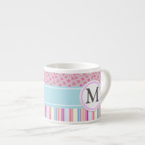 Pink stripes and pattern espresso cup
