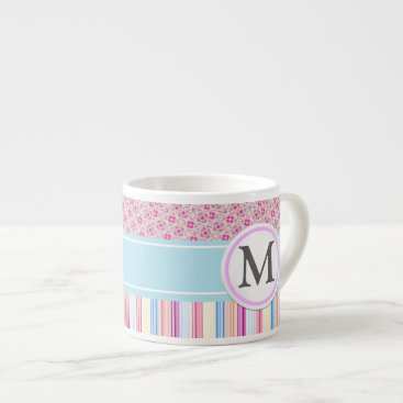 Coffee Themed Pink stripes and pattern espresso cup