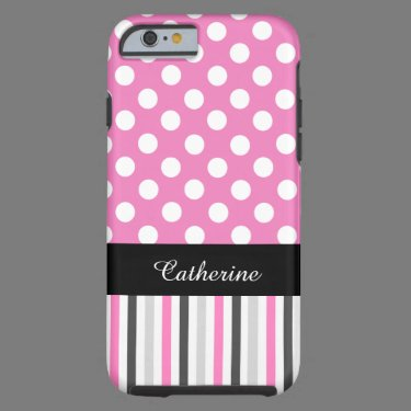Pink Stripes and Polka Dot iPhone 6 case