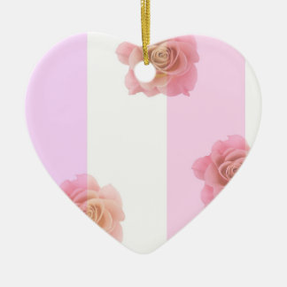 Pink Stripes and Roses Ceramic Ornament