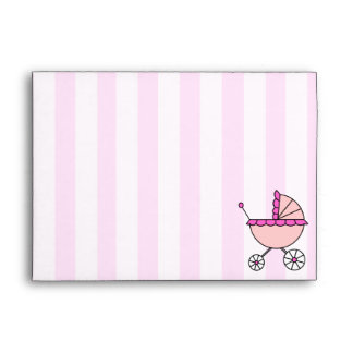 Pink Stripes Baby Carriage Custom Envelopes