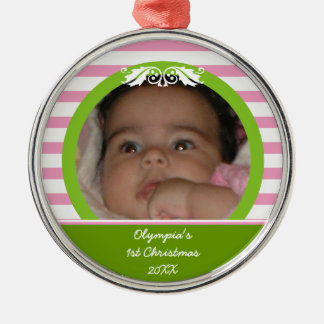 Pink stripes Baby's 1st Christmas photo Ornament