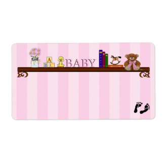 Pink Stripes Baby Shower Guest Name Tag  Label