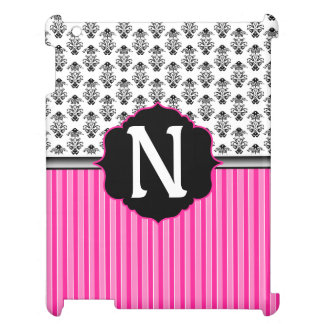 Pink Stripes Black on White Damask Monogram iPad Covers
