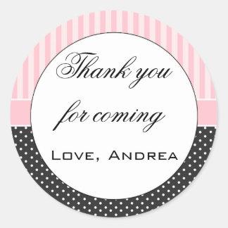 Pink Stripes Black Polka Dots Thank You Label