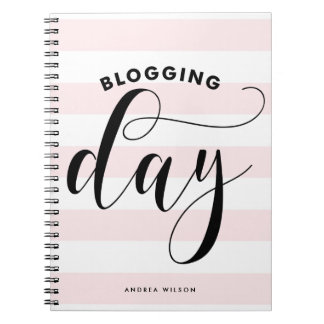 Pink Stripes Blogging Day Calligraphy Personalized Notebook